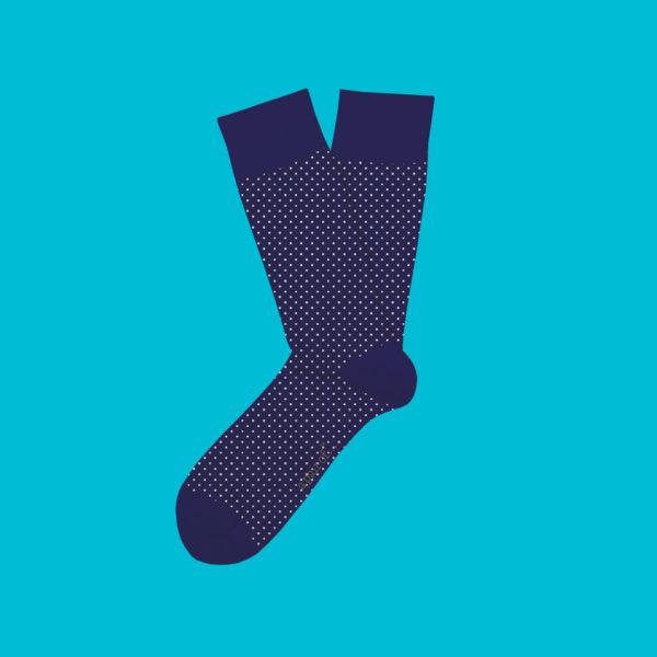 Blå strumpor med prickar!