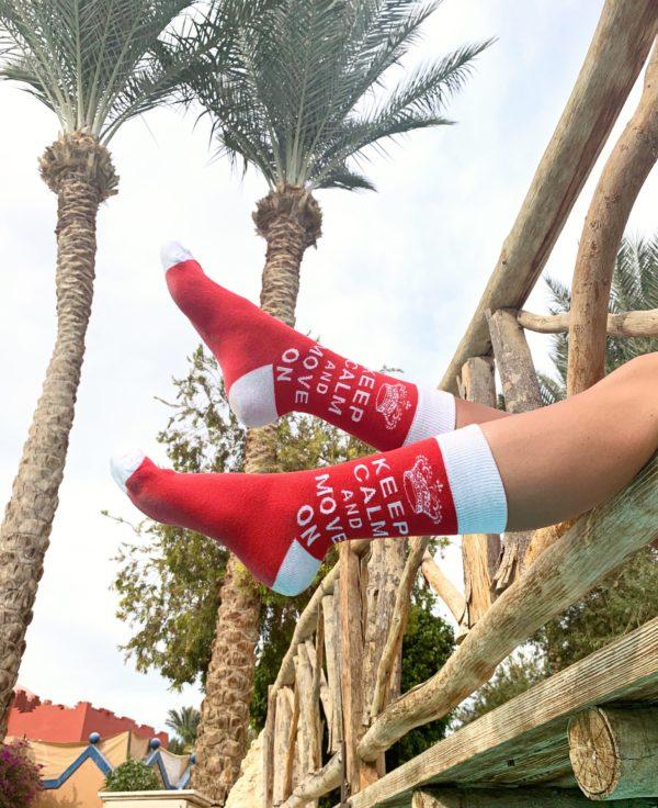 cool socks keep calm and move on sock