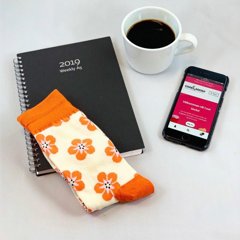 Cool Socks orange flower sock