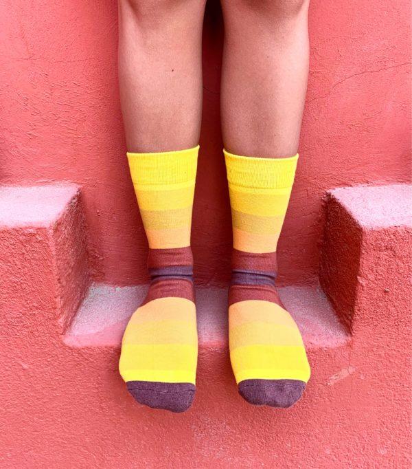 cool socks yellow stripe sock